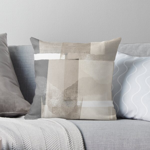 """Grey and Beige Geometric Abstract """"Building Blocks"""" Throw Pillow"""