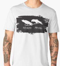 Hugin and Munin Odin's Ravens/Crows with Runic names Norse Viking Mythology on black ink Men's Premium T-Shirt