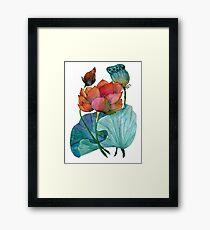 Original watercolor painting of aquatic plants of lotus Framed Print