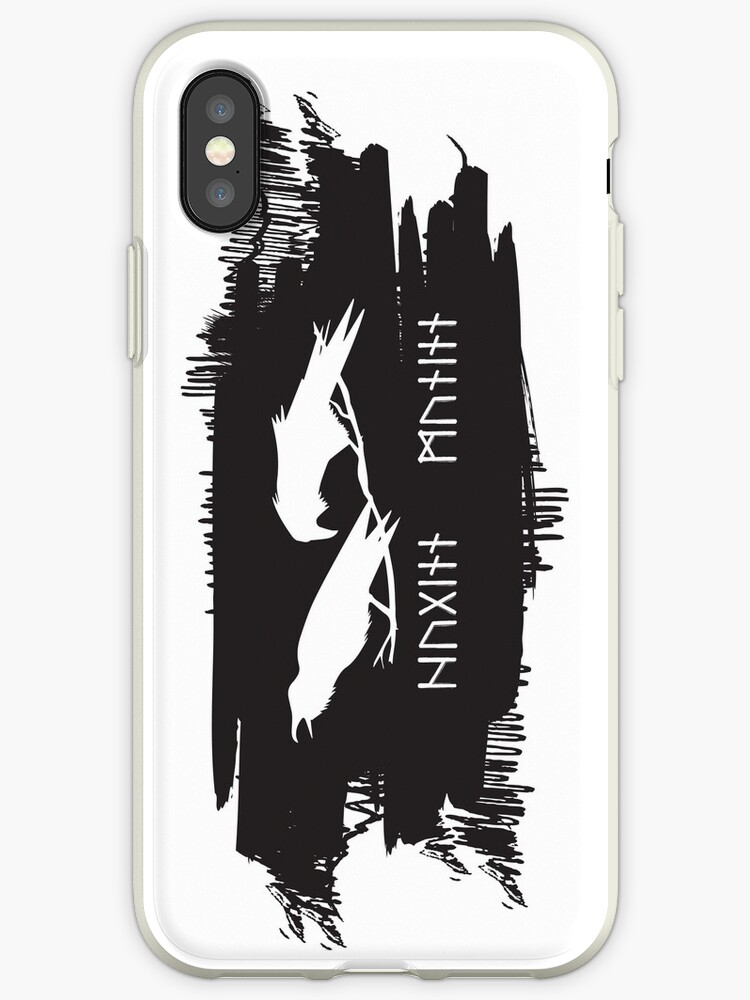 'Hugin and Munin Odin's Ravens/Crows with Runic names Norse Viking  Mythology on black ink' iPhone Case by iresist