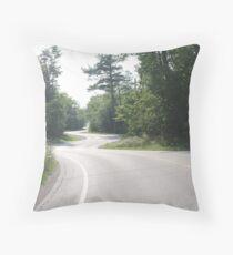 Empty Curvy Road in Woods Throw Pillow