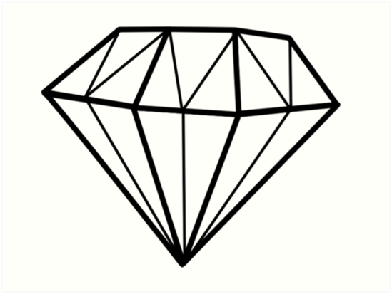 """Simple Diamond Line Drawing"" Art Prints by shabzdesigns ..."