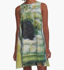 Natasha in the Chartreuse Chair A-Line Dress