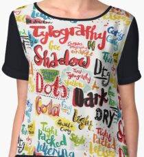 Painted Typography Chiffon Top