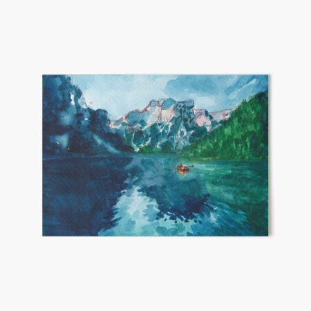 lake nature scene (with boat!!!) Art Board Print