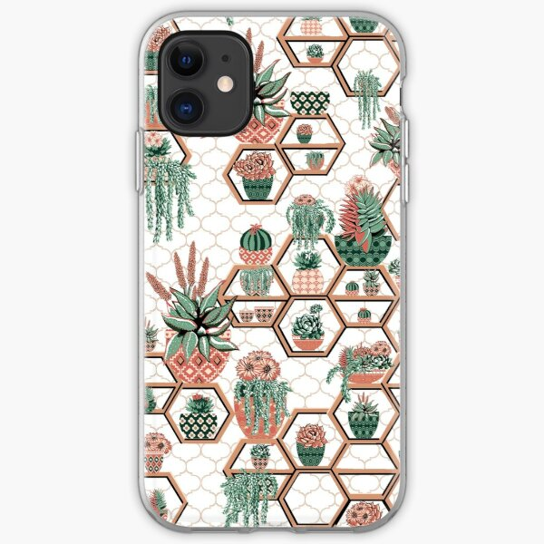 hexagon geometric pattern, 2020, cacti garden, Cacti and Succulent Garden iPhone Soft Case