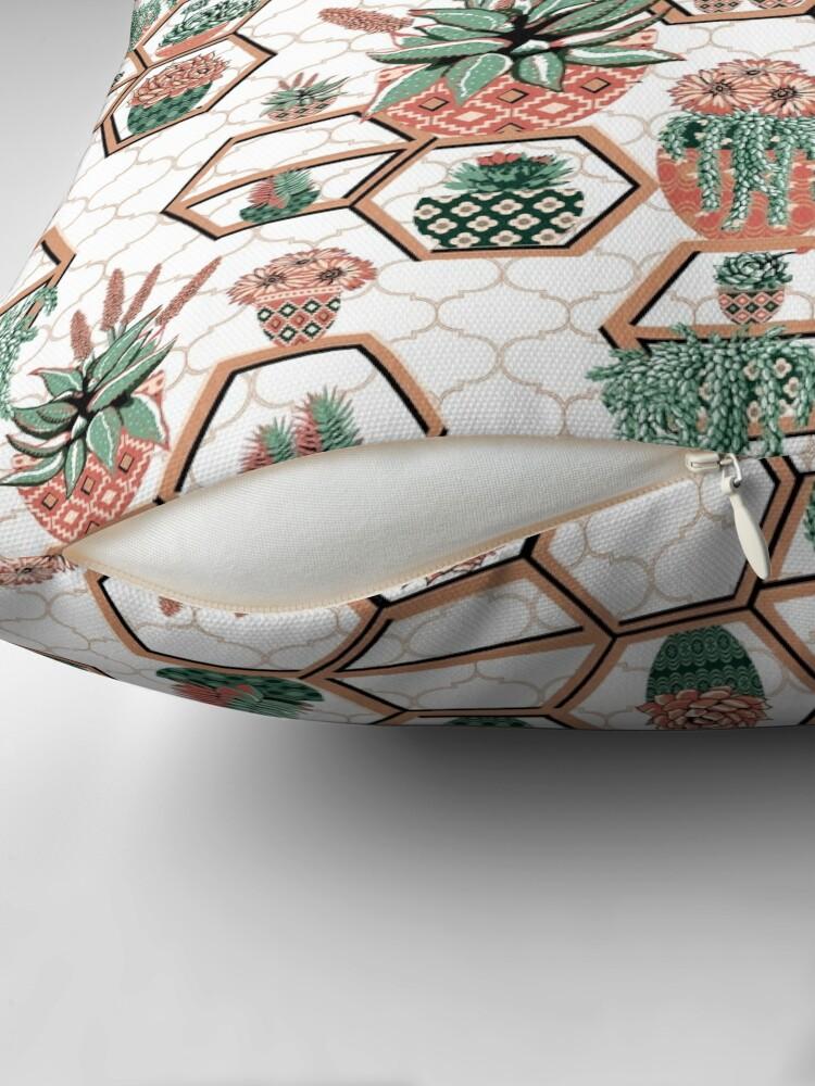 Alternate view of hexagon geometric pattern, 2020, cacti garden, Cacti and Succulent Garden Throw Pillow