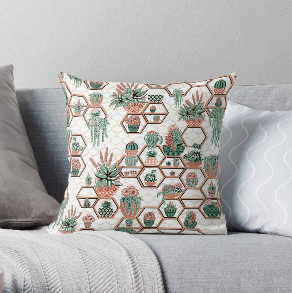 hexagon geometric pattern, 2020, cacti garden, Cacti and Succulent Garden Throw Pillow