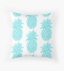 Aqua Pineapple, turquoise, pineapple, tropical Throw Pillow