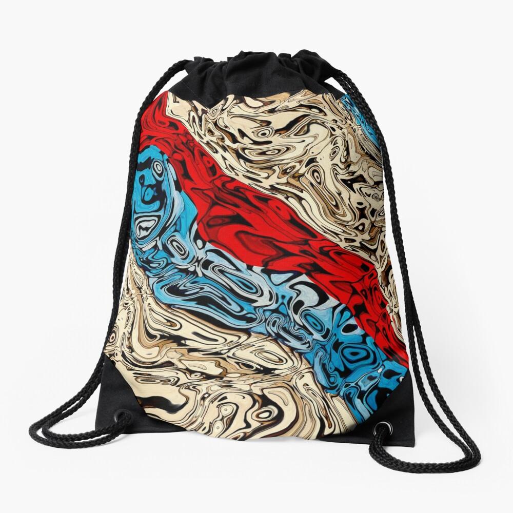 Abstract Textured Stripes Drawstring Bag