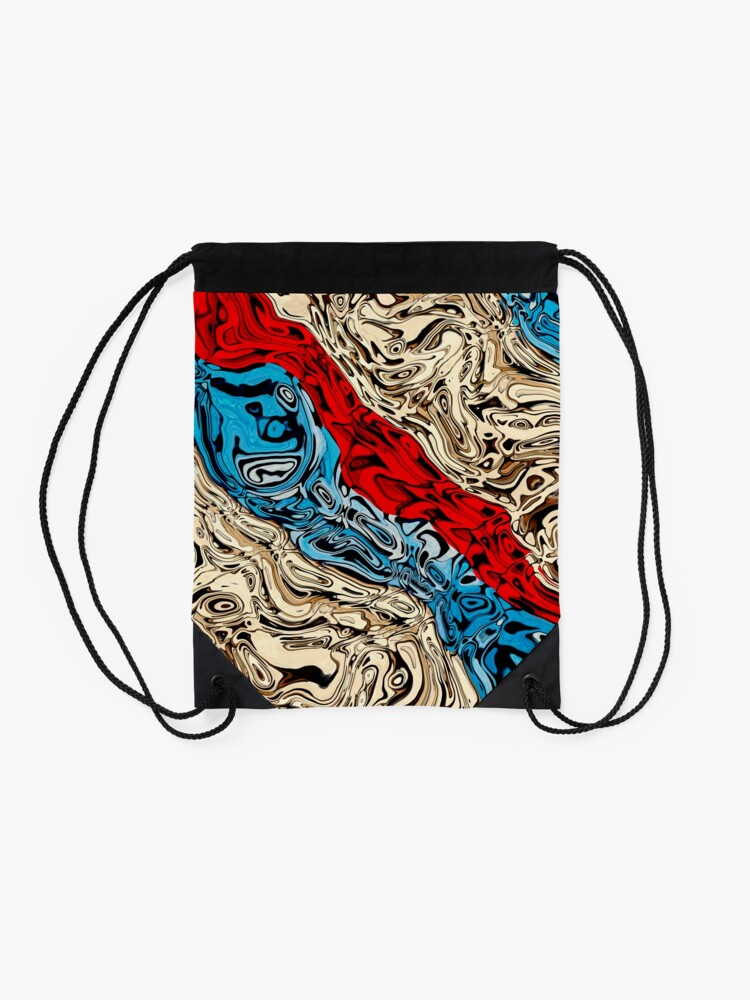 Alternate view of Abstract Textured Stripes Drawstring Bag