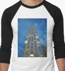 New York, Manhattan, Brooklyn, New York City, architecture, street, building, tree, car, pedestrians, day, night, nightlight, house, condominium,  Men's Baseball ¾ T-Shirt