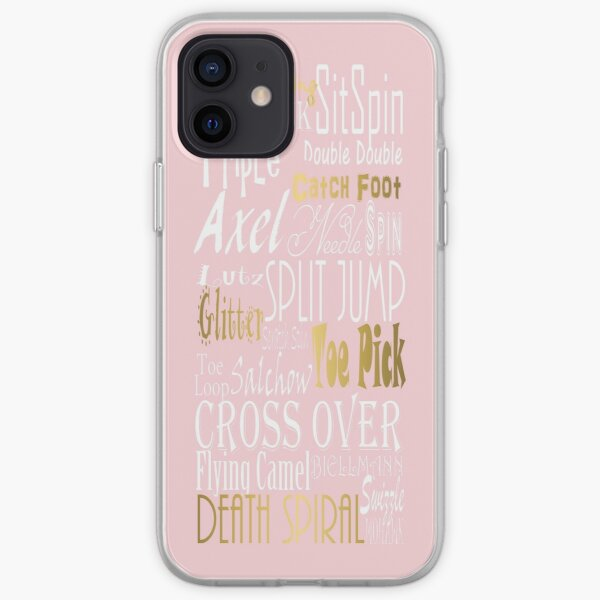 Figure Skating Subway Style Typographic Design Millennial Pink and Gold Foil iPhone Soft Case