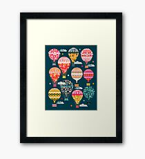 Hot Air Balloons - Retro, Vintage-inspired Print and Pattern by Andrea Lauren Framed Print