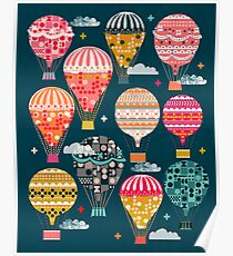 Hot Air Balloons - Retro, Vintage-inspired Print and Pattern by Andrea Lauren Poster