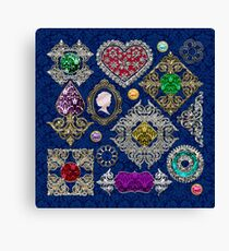 Gorgeous Victorian Jewelry Brooch Gemstone Collage Canvas Print