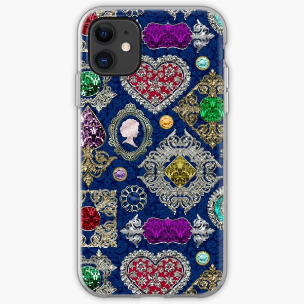 Gorgeous Victorian Jewelry Brooch Gemstone Collage iPhone Soft Case