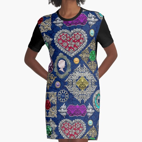 Gorgeous Victorian Jewelry Brooch Gemstone Collage Graphic T-Shirt Dress