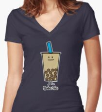 Boba Bubble Pearl Milk Tea Tapioca balls with straw Women's Fitted V-Neck T-Shirt