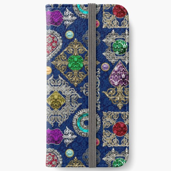 Gorgeous Victorian Jewelry Brooch Gemstone Collage iPhone Wallet