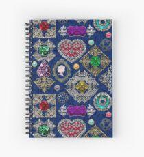 Gorgeous Victorian Jewelry Brooch Gemstone Collage Spiral Notebook