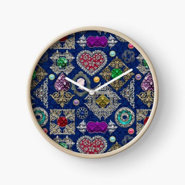 Gorgeous Victorian Jewelry Brooch Gemstone Collage Clock