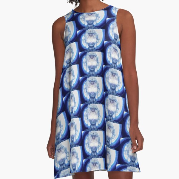 Galactic Buddha Blue A-Line Dress
