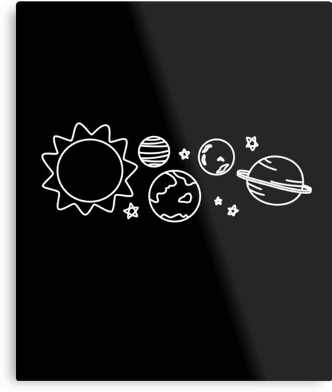 Black And White Outer Space Aesthetic Art Metal Prints By