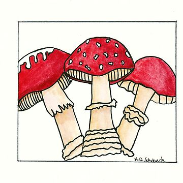 Watercolor Toadstools by chaoticginger