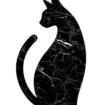 Etiqueta engomada negra del gato del patrón de mármol de hocapontas