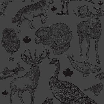 Animalia Canadiana - Black on Black by samposnick