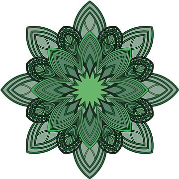 Seedpod Mandala in Emerald and Moss Greens by annbelleproject