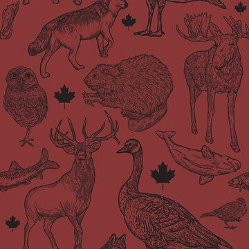 Animalia Canadiana - Black on Red by samposnick