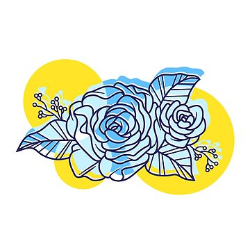 Blue White and Yellow Rose Tattoo Lineart by hocapontas
