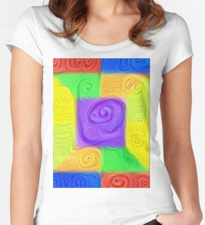 DeepDream Color Squares Visual Areas 5x5K v11 Fitted Scoop T-Shirt