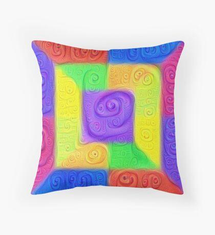 DeepDream Color Squares Visual Areas 5x5K v11 Throw Pillow