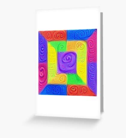 DeepDream Color Squares Visual Areas 5x5K v11 Greeting Card