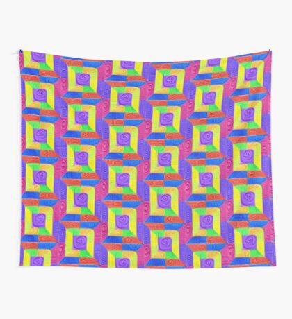 DeepDream Color Squares Visual Areas 5x5K v11 Wall Tapestry