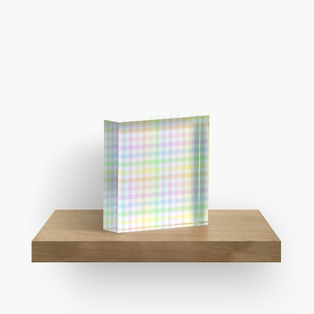 Rainbow Gingham Acrylic Block