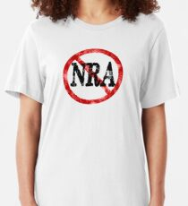 Anti NRA Badge Gun Control Vintage Retro Style Political Gear Slim Fit T-Shirt