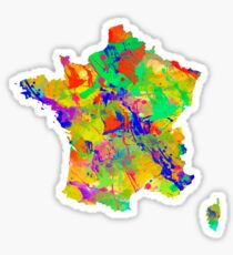 Watercolor Map of  France Sticker