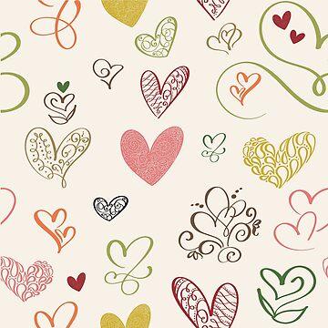 Heart doodle love pattern by quenguyen