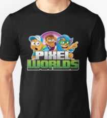 Pixel Worlds Logo with Characters Unisex T-Shirt