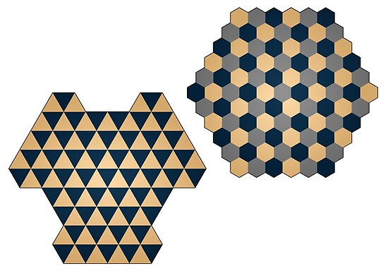 Triangular and Hexagonal Three Player Chess Boards by glyphobet