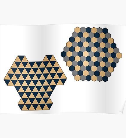 Triangular and Hexagonal Three Player Chess Boards Poster