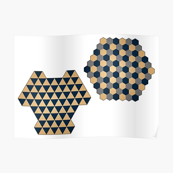Triangular and Hexagonal Three Player Chess Boards Poster