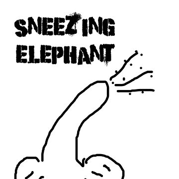 Bad Drawer Presents | Sneezing Elephant  | ELEPHANT GREY OR BLUSHING PINK by Iskybibblle