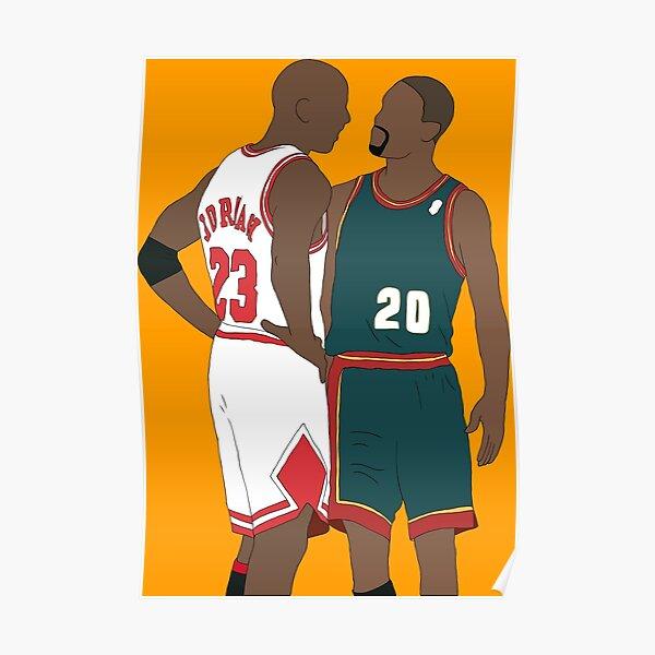 Gary Payton And Michael Jordan Poster