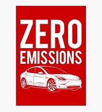 Zero Emissions Tesla - Model S, Model 3, Model X - Elon Musk Photographic Print