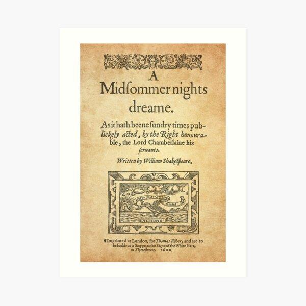 Shakespeare, A midsummer night's dream 1600 Lámina artística